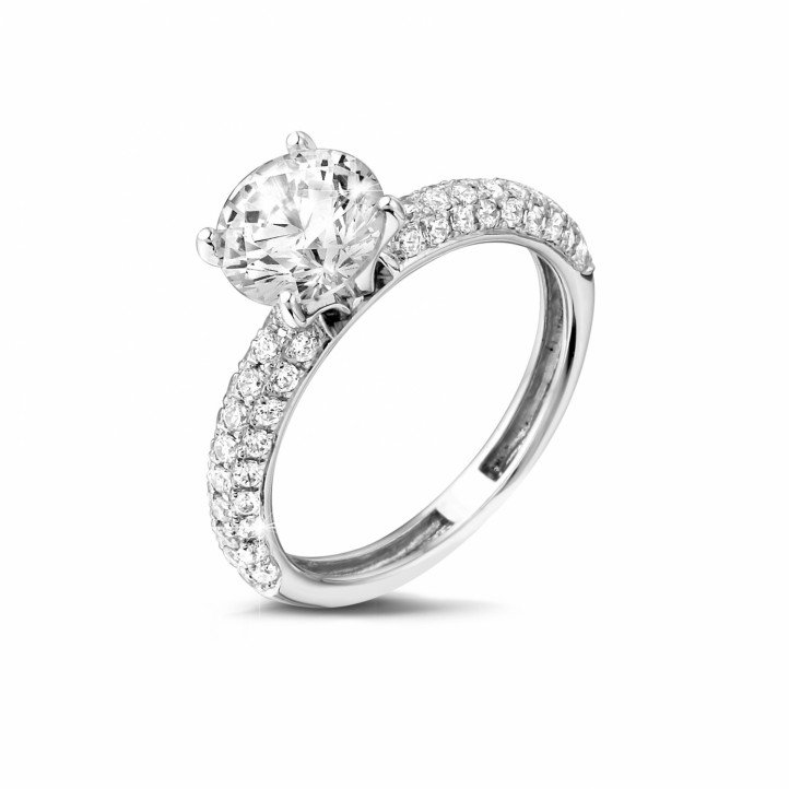 1.50 carat solitaire ring (half set) in white gold with side diamonds