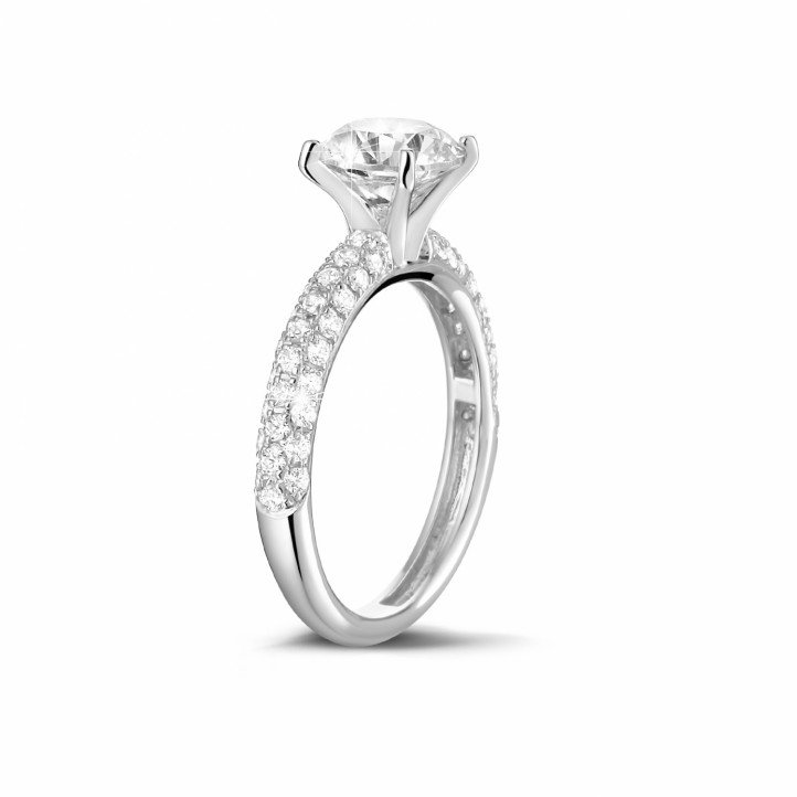 1.20 carat solitaire ring (half set) in white gold with side diamonds