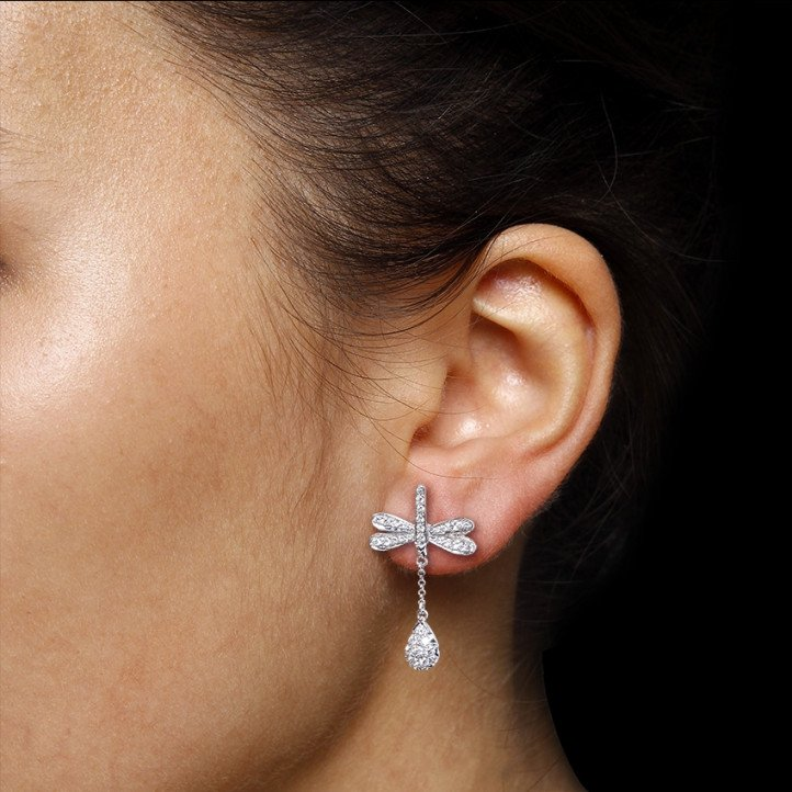 0.70 carat diamond dragonfly earrings in white gold