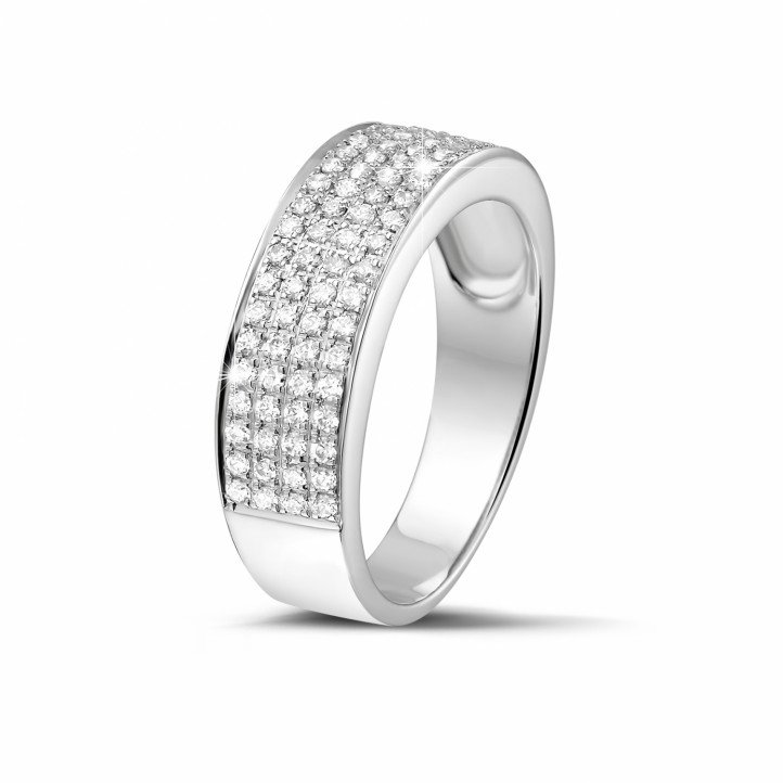 0.64 carat wide diamond eternity ring in platinum