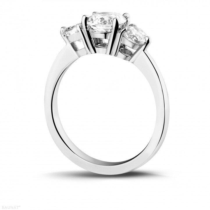 1.50 carat trilogy ring in platinum with round diamonds