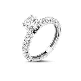 1.20 carat solitaire ring (half set) in platinum with side diamonds