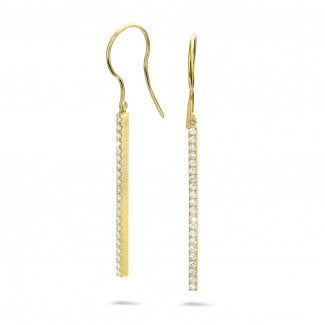 Earrings - 0.35 carat diamond rod earrings in yellow gold
