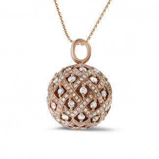 Red Gold Diamond Necklaces - 2.00 carat diamond pendant in red gold
