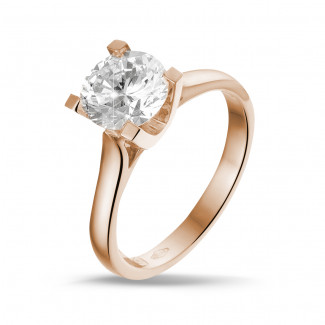- 1.50 carat solitaire diamond ring in red gold