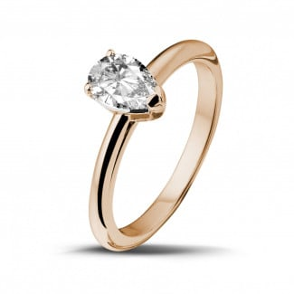 1.00 carat solitaire ring in red gold with pear shaped diamond