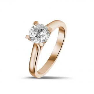 - 1.00 carat solitaire diamond ring in red gold