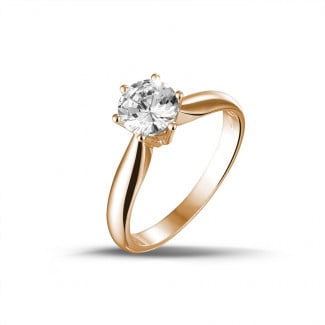 Engagement - 1.00 carat solitaire diamond ring in red gold