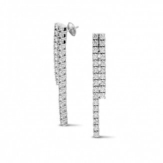 Earrings - 3.90 carat diamond river earrings in white gold