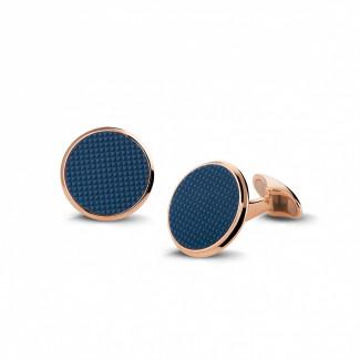 Cufflinks - Red golden cufflinks with quartz – clou de Paris