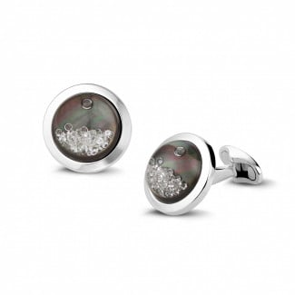 Cufflinks - White golden cufflinks with tahiti mother of pearl and round diamonds