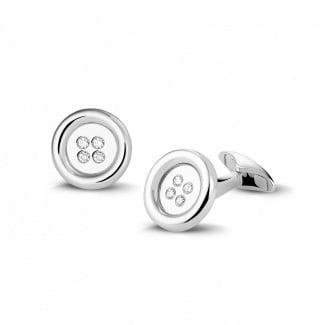 Cufflinks - White golden cufflinks with round diamonds