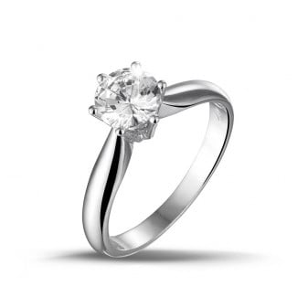 Engagement - 1.00 carat solitaire diamond ring in white gold