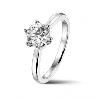 Rings - BAUNAT Iconic 1.00 carat solitaire ring in white gold with round diamond