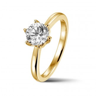Engagement - BAUNAT Iconic 1.00 carat solitaire ring in yellow gold with round diamond