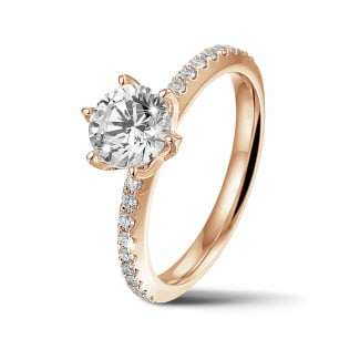 Engagement - BAUNAT Iconic 1.00 carat solitaire ring in red gold with side diamonds