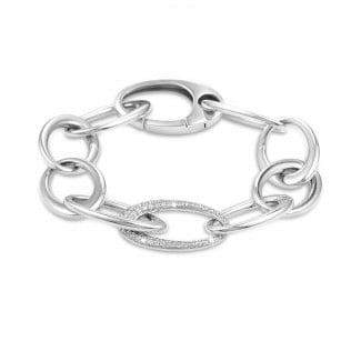 Bracelets - 1.70 carat classic diamond chain bracelet in white gold