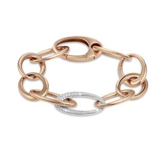 Bracelets - 1.70 carat classic diamond chain bracelet in red gold