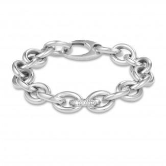 Bracelets - 0.34 carat bold diamond chain bracelet in white gold