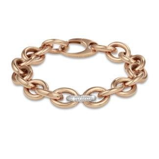 Bracelets - 0.34 carat bold diamond chain bracelet in red gold