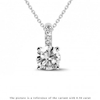 Necklaces - 1.00 carat solitaire pendant in white gold with four prongs and round diamonds