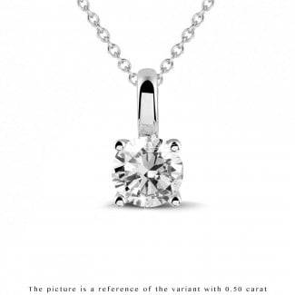 Necklaces - 1.00 carat solitaire pendant in white gold with round diamond and four prongs
