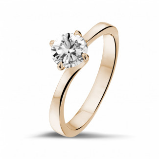 Romantic - 0.90 carat solitaire diamond ring in red gold