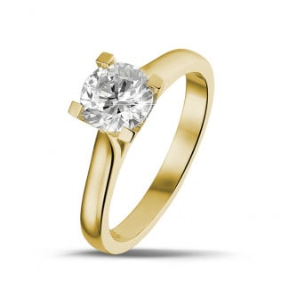 Yellow Gold Diamond Rings - 0.90 carat solitaire diamond ring in yellow gold