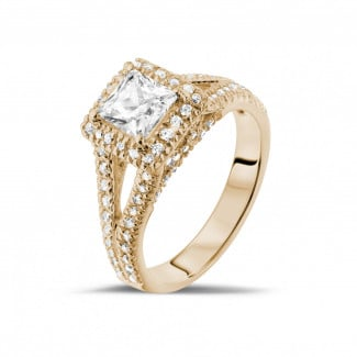 Classics - 1.00 carat solitaire ring in red gold with princess diamond and side diamonds