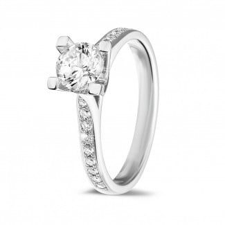 Classics - 0.75 carat solitaire diamond ring in white gold with side diamonds
