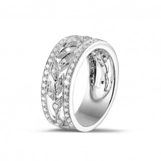 - 0.35 carat wide floral eternity ring in white gold with small round diamonds