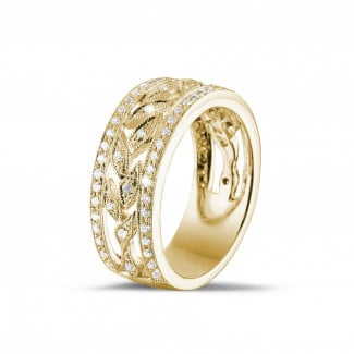 Yellow gold diamond wedding bands - 0.35 carat wide floral eternity ring in yellow gold with small round diamonds