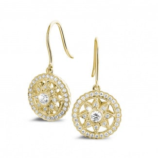 - 0.50 carat diamond earrings in yellow gold