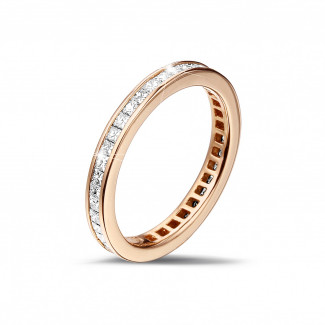 Red gold diamond wedding bands - 0.90 carat eternity ring (full set) in red gold with small princess diamonds