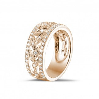 Red gold diamond wedding bands - 0.35 carat wide floral eternity ring in red gold with small round diamonds