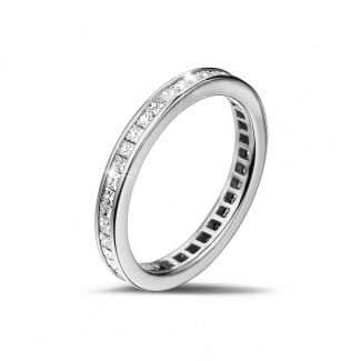 Platinum Diamond Rings - 0.90 carat eternity ring (full set) in platinum with small princess diamonds