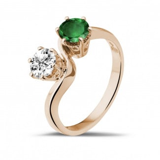 Emerald ring - Toi et Moi ring in red gold with round diamond and emerald