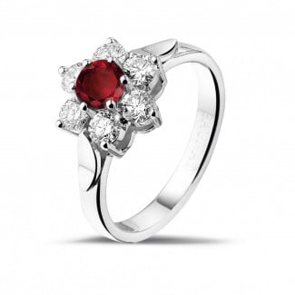 Ruby jewellery - Flower ring in white gold with a round ruby and side diamonds