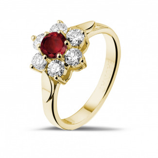 Jewels with ruby, sapphire and emerald - Flower ring in yellow gold with a round ruby and side diamonds