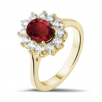 Jewels with ruby, sapphire and emerald - Entourage ring in yellow gold with an oval ruby and round diamonds