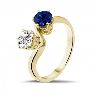 Jewels with ruby, sapphire and emerald - Toi et Moi ring in yellow gold with round diamond and sapphire