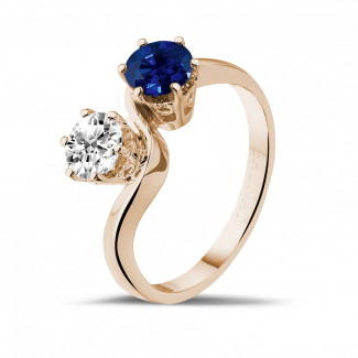 Romantic - Toi et Moi ring in red gold with round diamond and sapphire