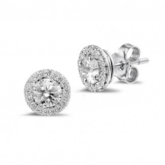 Earrings - 1.00 carat diamond halo earrings in white gold