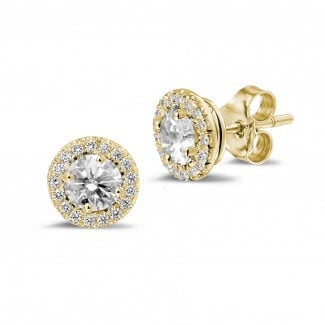Earrings - 1.00 carat diamond halo earrings in yellow gold