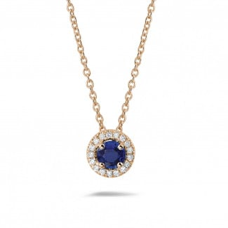 Necklaces - Halo necklace in red gold with a central sapphire and round diamonds