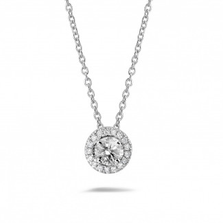 Necklace for women - 0.50 carat diamond halo necklace in white gold