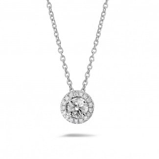 Necklaces - 0.50 carat diamond halo necklace in white gold