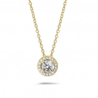 Necklaces - 0.50 carat diamond halo necklace in yellow gold