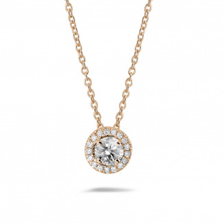 Red Gold Diamond Necklaces - 0.50 carat diamond halo necklace in red gold