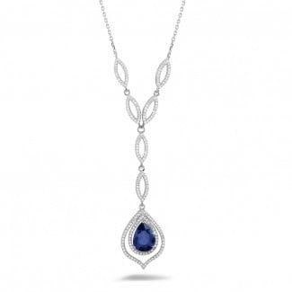 Platinum Diamond Necklaces - Diamond platinum necklace with a pear shaped sapphire of approximately 4.00 carat